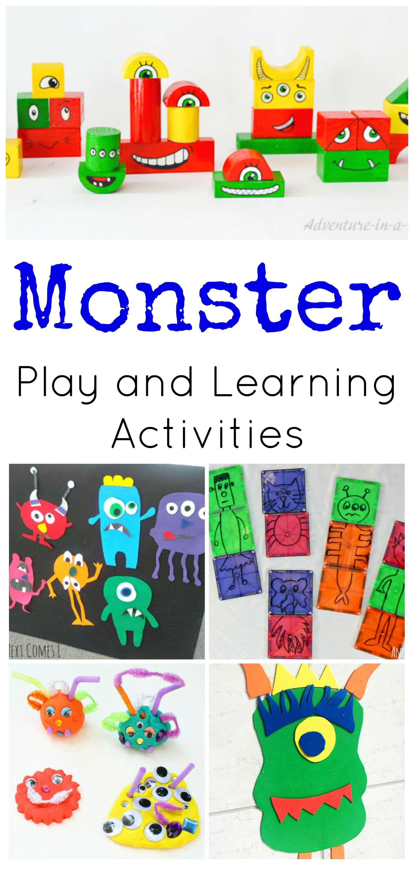Monster activities for preschoolers for Educational crafts for preschoolers