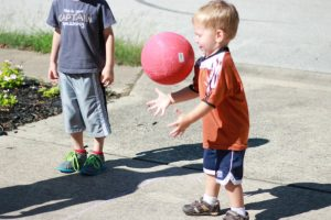 Playing Four Square with Kids