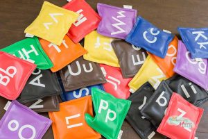 Alphabet Sensory Play and Gross Motor Challenge