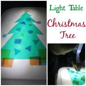 Christmas Tree Light Table Play for learning shapes, colors and sizes!