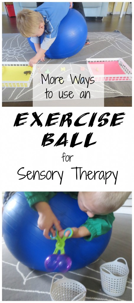 "A Child Prone on a Therapy Ball with Text overlay that reads ""Exercise Ball for Sensory Therapy"""