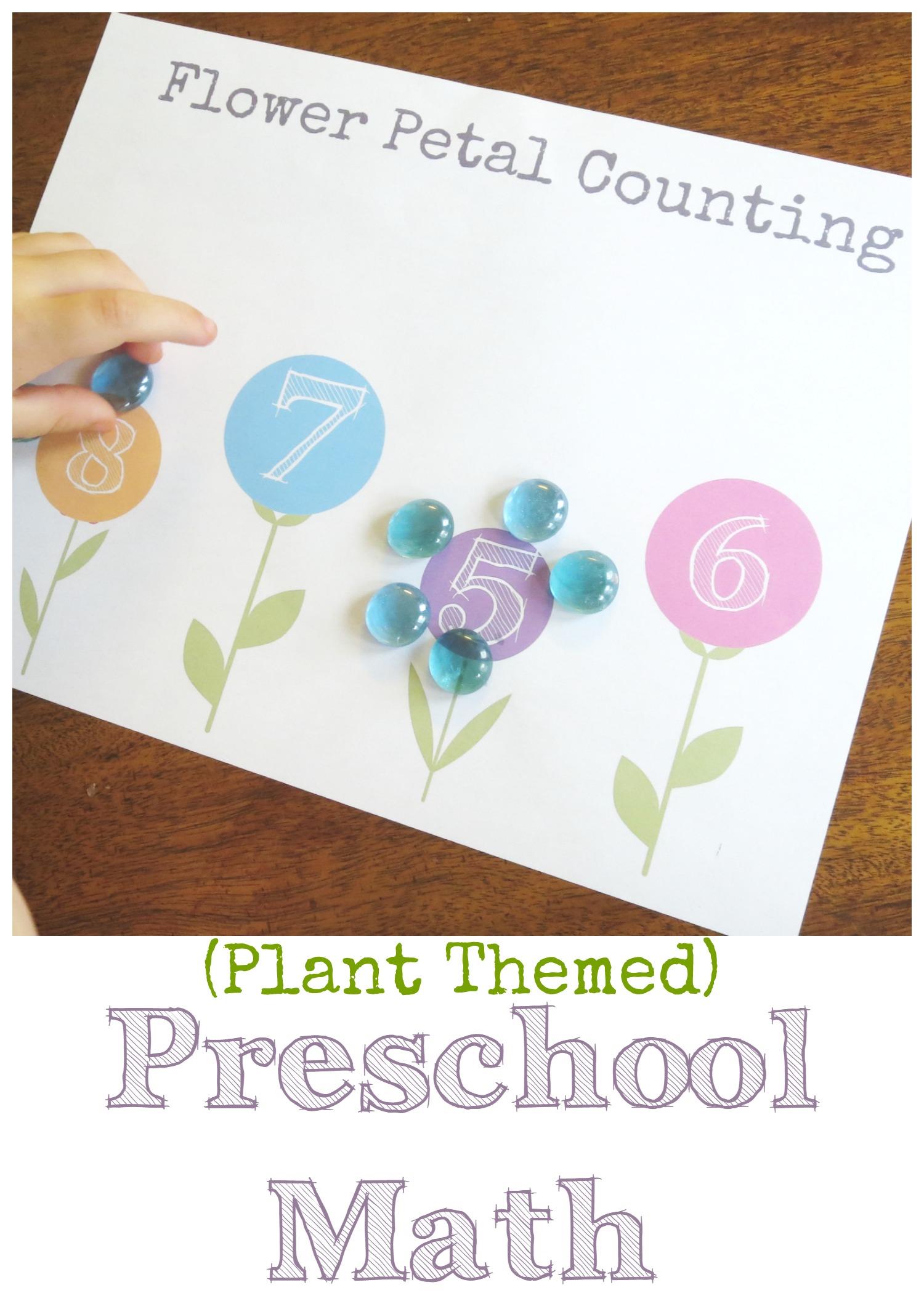Plant Theme: Preschool Math Flower Petal Counting (Free ...