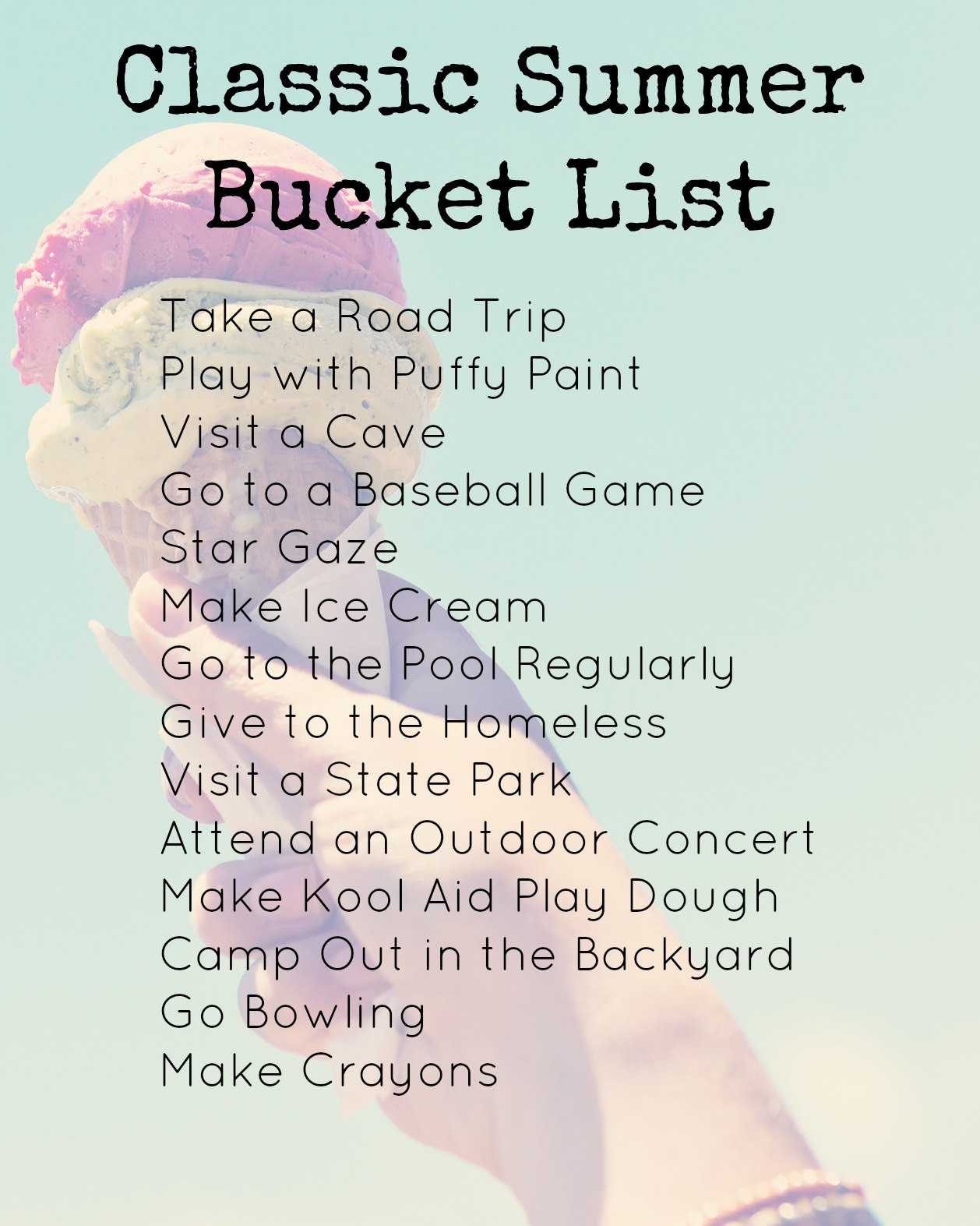 our classic summer bucket list with free printable