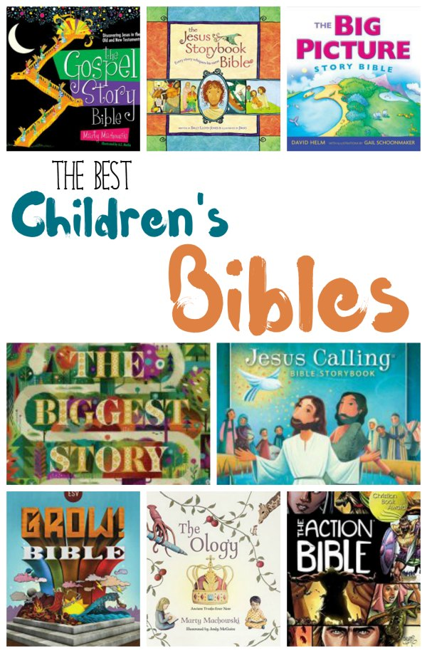 "Collage of many children's bible covers with text overlay ""The Best Children's Bibles"""