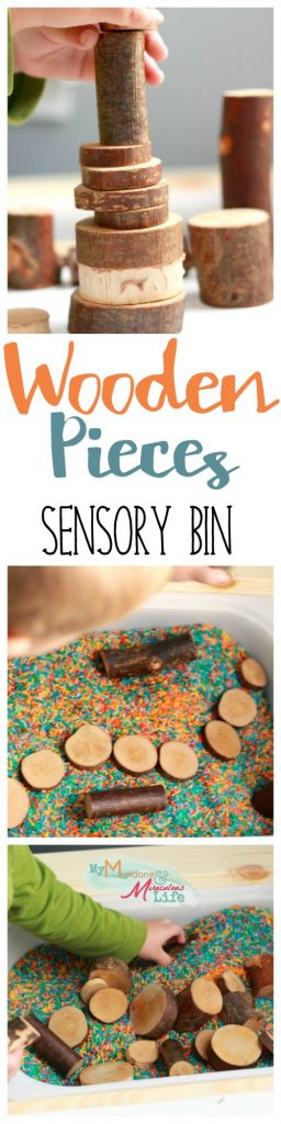Wooden Pieces Sensory Bin