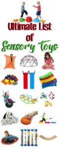 Collage of sensory toys and kids playing with them
