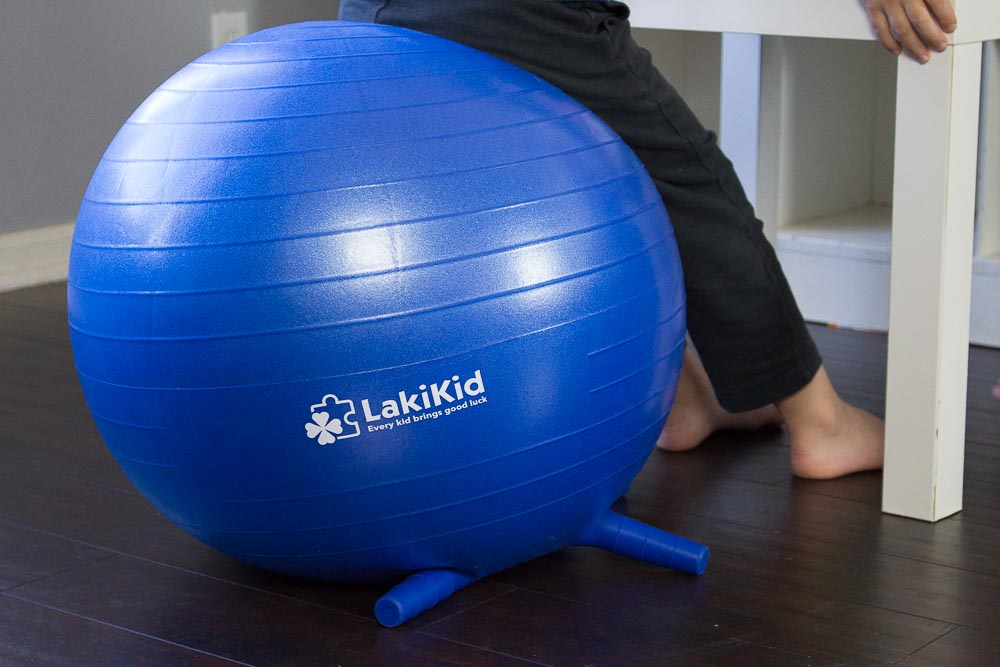 Close up of the exercise ball and it's stability nubs.