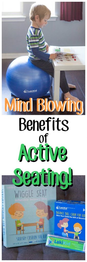 "Child sitting at a desk with exercise ball for a chair. Text overlay says ""mind blowing benefits of active seating"""