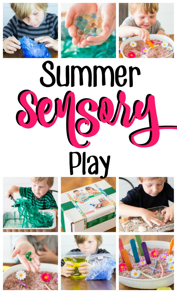 "Collage of kids playing with sensory bins and science experiments with a text overlay that reads ""Summer Sensory Play"""
