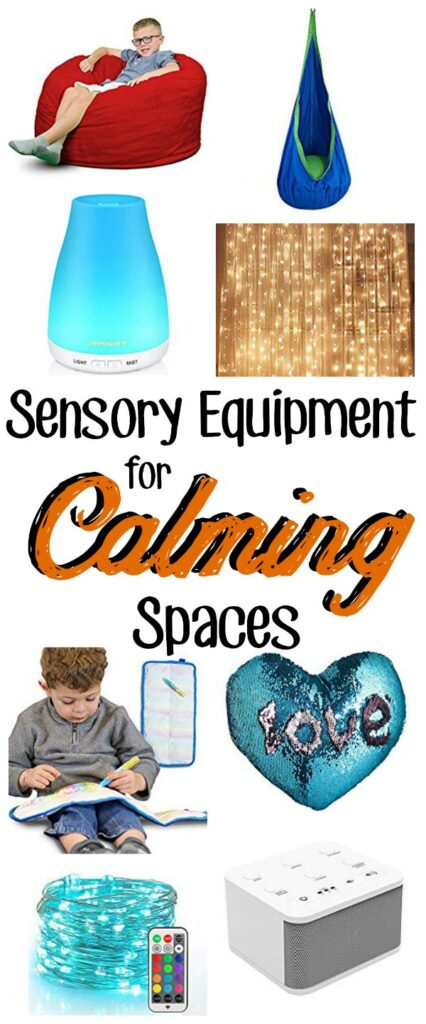 "Collage of sensory equipment with a text overlay that reads ""Sensory Equipment for Calming Spaces"""
