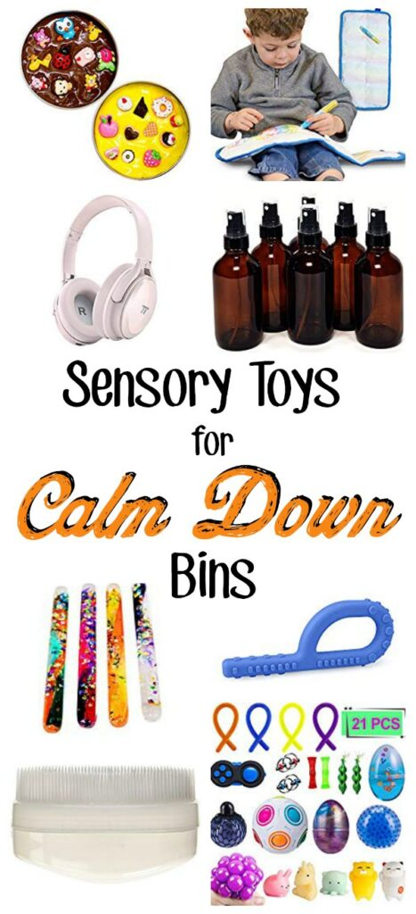 "A collage of sensory calming toys with a text overlay that reads ""sensory toys for calm down bins"""