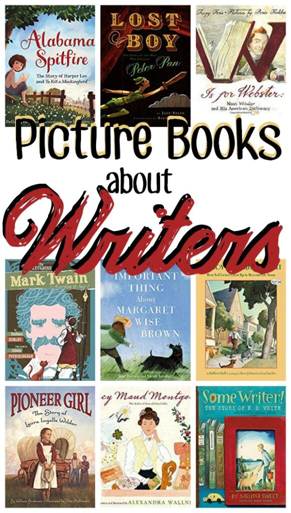 "A collage of book covers with ""Picture Books about Writers"" overlay-ed."