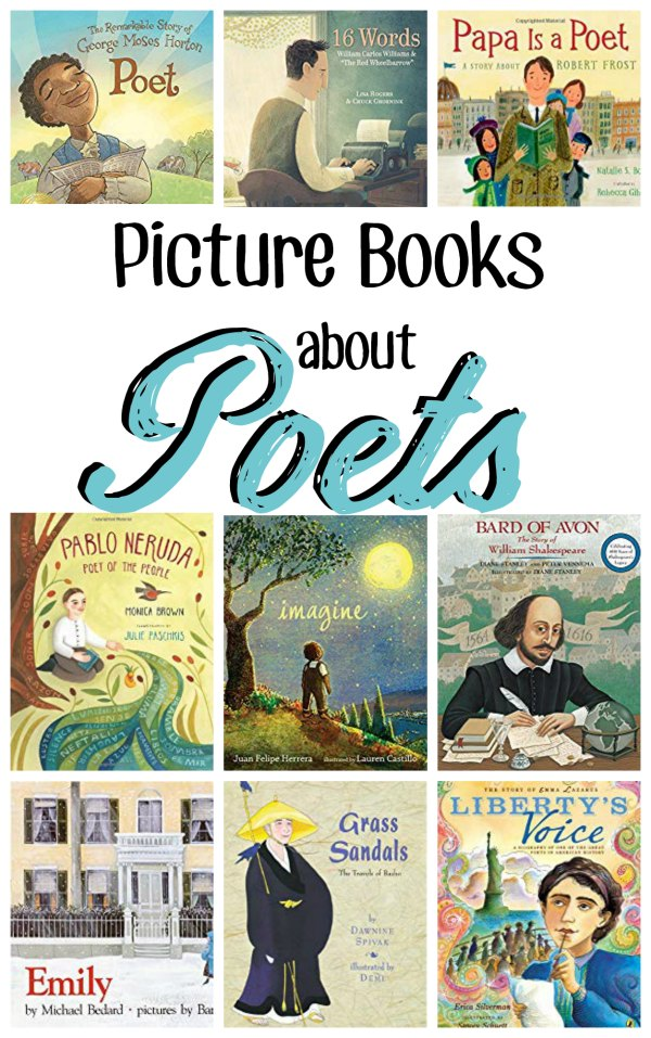 "A collage of book covers with text overly that reads ""Picture books about poets"""