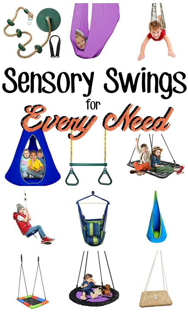 "Collage of multiple swing, some with kids using them and a text overlay that reads ""Sensory Swings for Every Need"""