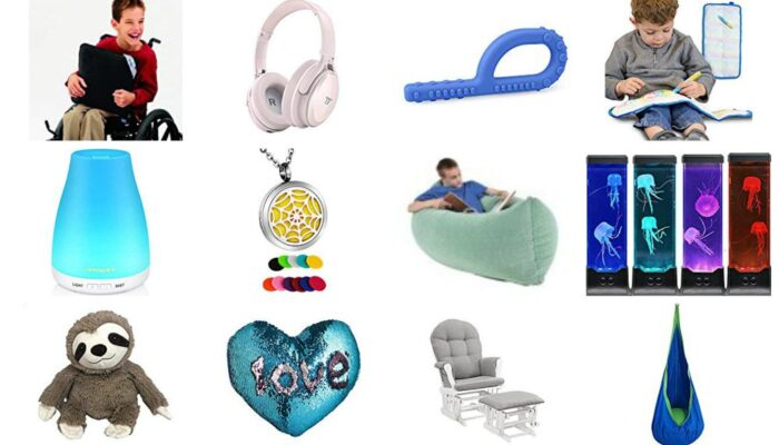 A collage of sensory toys for anxiety