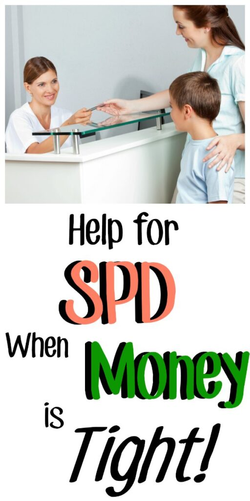 "Image of a receptionist taking a credit card from a mom with her hand on her son's shoulder. With the text overlay ""Help for SPD when money is tight!"""