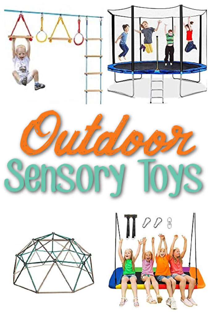 """Collage of kids playing on trampolines, swings and other backyard toys. Text overlay reads """"Outdoor sensory toys""""."""